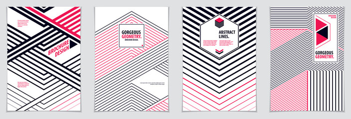 Minimal flyers, booklets, annual reports cover templates. Web, commerce or events vector graphic design templates set. Covers with minimal design. A4 print format.