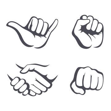 Vector hands set. Different gestures: hang loose, handshake, fist.