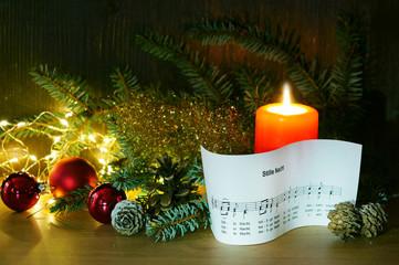 Stille Nacht, Weihnachten, Lied, Notenblatt, Kerze, Textraum, copy space