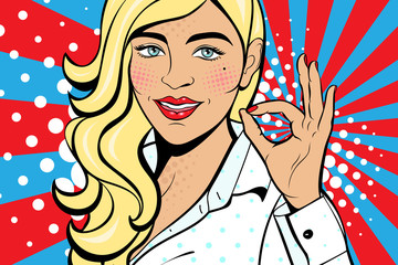 Sexy pop art woman with squinted eyes and open mouth. Vector background in comic style retro pop...