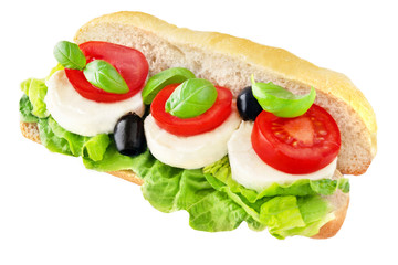 Baguette  Mozzarella and Tomatoes