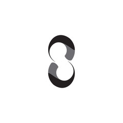 Swirl S letter or Number Eight logo design