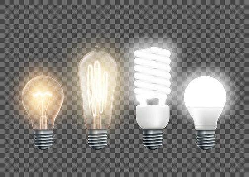 Tungsten, Edison, fluorescent and led light bulbs