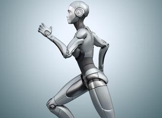 Running cyborg on bright background