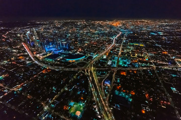 Spoed Foto op Canvas Nacht snelweg Aerial view of a massive highway in Los Angeles, CA at night
