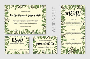 Wedding invite, invitation menu rsvp thank you card vector floral greenery design: Forest fern frond, Eucalyptus and boxwood branch green leaves foliage frame border. Watercolor set