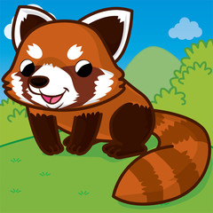 Red panda cartoon, cartoon cute, animal cute