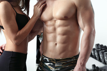 Sexy muscular couple in love