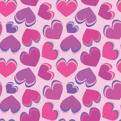 Funky pink layered hearts on pink background