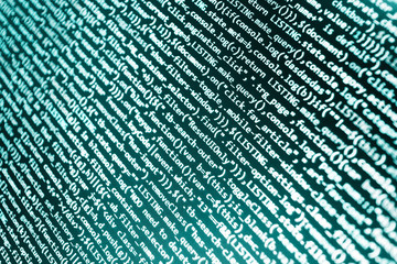 Programming text on dark screen. HTML website structure. Software data monitor new function. Javascript abstract computer script, random parts of program code. Web site codes on computer monitor