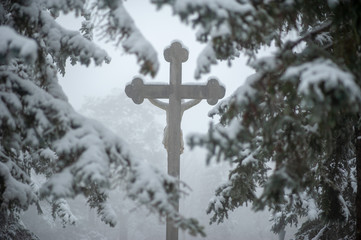 Kreuz Schnee Nebel