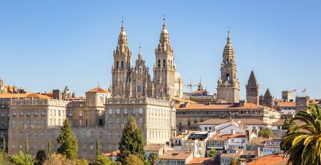 Santiago de Compostela view and amazing Cathedral of Santiago de Compostela with the new restored facade Wall mural