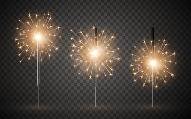 Holiday celebration bright bengal light realistic set