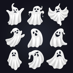 Scary white ghost horror set for halloween