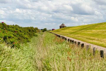 Deich, Deichlandschaft an der Nordsee in Nordfriesland.