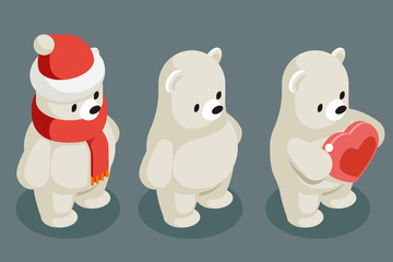 Isometric polar white bear christmas animal character winter new year 3d flat cartoon design vector illustration