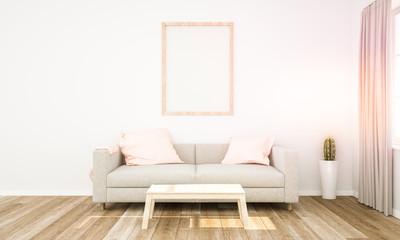pink living room with frame mockup