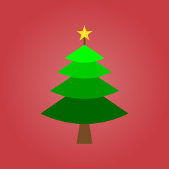 one green christmas tree on red for pattern and design,vector illustration