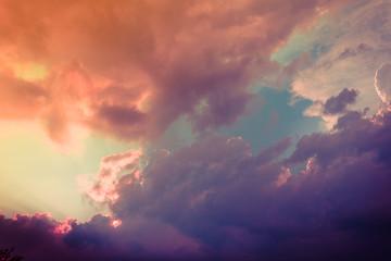 fabulous multicolored Cumulus clouds at sunset
