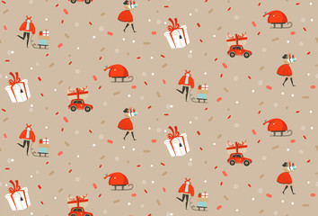 Hand drawn vector abstract fun Merry Christmas and Happy New Year time cartoon rustic festive seamless pattern with cute illustrations of Xmas people and gift boxes isolated on pastel background