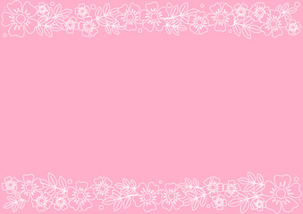 Pink background with decorative stripes align top and below with white outline flowers and leaves for decoration, scrapbooking paper, wedding, invitation, greeting card, text, certificate