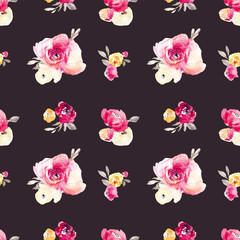 Seamless Watercolor Flower Pattern Background. Repeating Floral Pattern