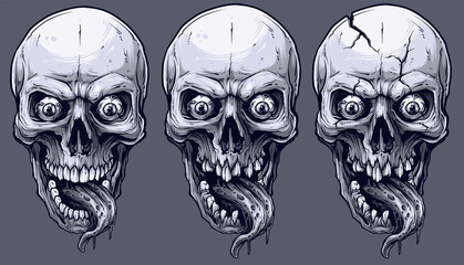 Detailed graphic realistic cool black and white human skulls with horrible long tongue and eyes. On gray background. Vector icon set. Wall mural