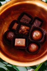 Close up of chocolates in a bowl