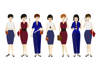 Cartoon Business Woman Character Different Pose Set. Vector