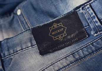Leather Designer Label on Jeans Mockup