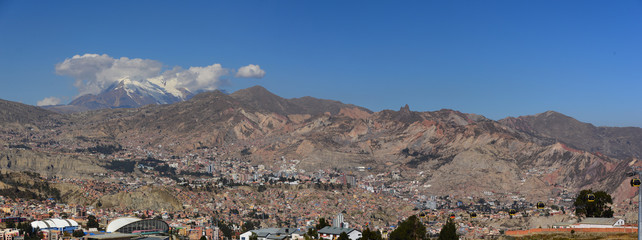 Panoramic city view of la Paz in Bolivia