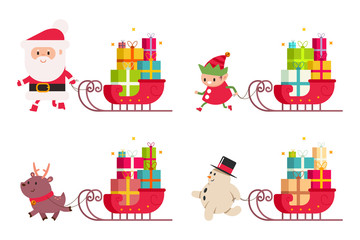 Christmas delivery with Santa Claus, reindeer, snowman, elf and sleigh with gift. Vector cartoon illustration set isolated on a white background.