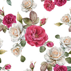 Floral seamless pattern with watercolor white roses