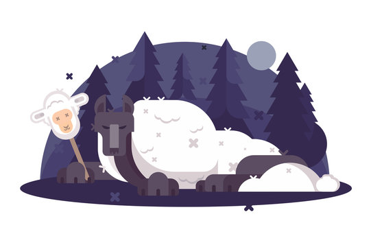 Cartoon wolf in sheeps clothing flat poster