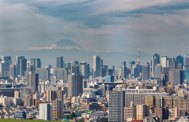 Building of Tokyo city with Tokyo tower and skyline of Fuji mountain in Japan