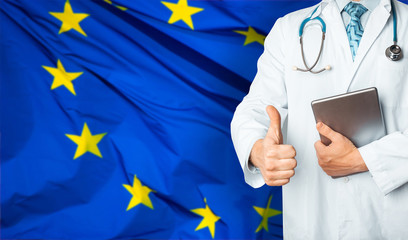 Concept of health and medicine national healthcare system in EU. Doctor who can cure hopelessly ill