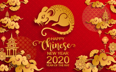Happy chinese new year 2020 Zodiac sign with gold rat paper cut art and craft style on color Background.( Chinese Translation : Year of the rat )