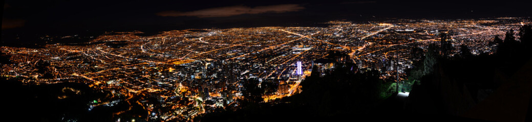 Night city view of Bogota from Monserrate, Colombia