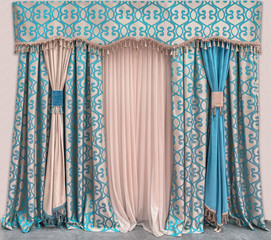 Decoration of the interior of the living room in the classical, palace style. Curtains of dense fabric with blue ornaments, the pelmet, and the tulle
