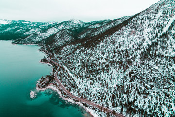 Snow covered mountains in Lake Tahoe