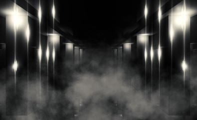 Empty dark wall background, concrete floor neon light, laser beams, smoke, fog, night