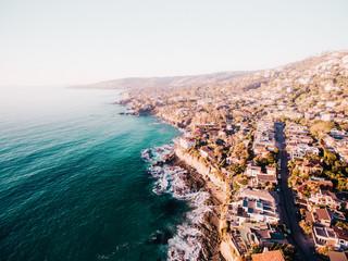 Aerial of a beach town
