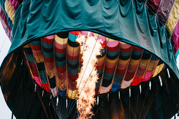 Close up of flame inside a hot air balloon