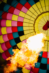 Close up of flames inside a hot air balloon
