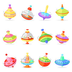 Top toy vector kids whirligig humming spinner colorful spinning playing game illustration set of cartoon childish twirl whipping-top and whirlabout isolated on white background