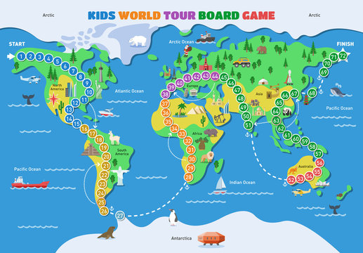 Board game vector world gaming map boardgame with ocean continents gameboard illustration set of global tour map-chart game with start and finish on background