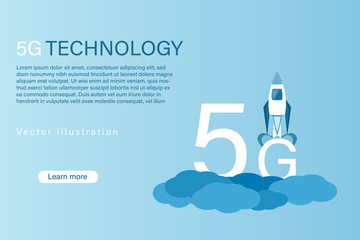 Business and finance. Vector illustration for 5G network, data analysis or cloud technology.