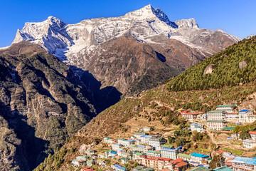 Namche bazar and Kongde Ri peak on the trek to everest base camp in Nepal