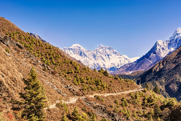 View of Everest and Lhotse Peak from the trekking route to Everest Base Camp in Nepal.