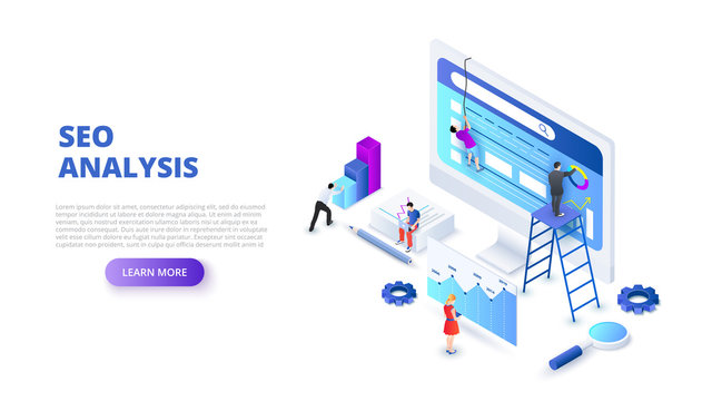 Seo analyses and optimization design concept with people. Isometric vector illustration. Landing page template for web.